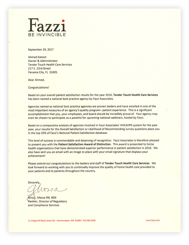 Fazzi Customer Satisfaction Letter
