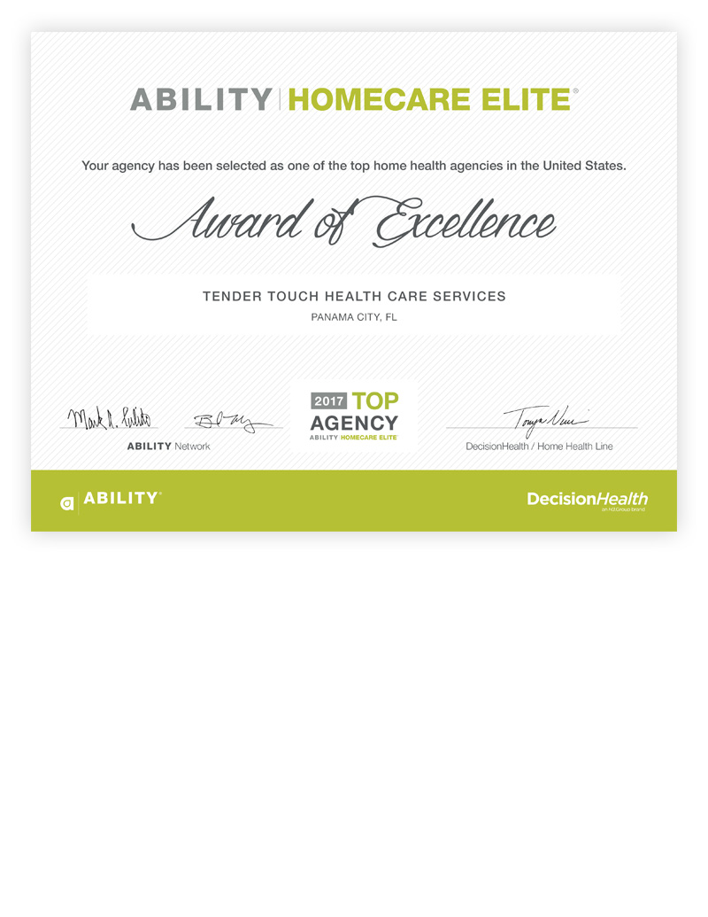 Top Agency Certificate by Home Care Elite